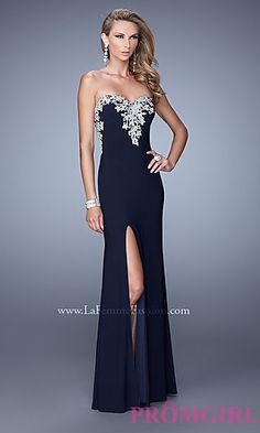 7751ccecf62 Long La Femme Strapless Prom Dress at PromGirl.com Maroon Homecoming Dress
