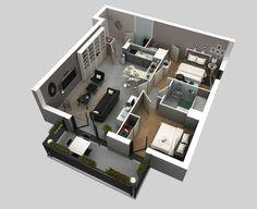 Plano de pequeña casa dos habitaciones 03