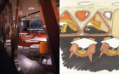 We are a global and creative design studio in Geneva, Tokyo and Beijing. Orange Chairs, Osaka Japan, Japanese Food, Wall Tiles, Hospitality, Creative Design, Triangle, Tables, Sketch