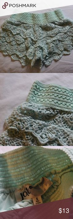 Jolt Mint Green Lace Crochet Shorts Jolt Mint Green Lace Crochet Shorts  Ships fast: Ships out in 1 or 2 business days  Custom bundle discounts available   Comment any questions or make an offer!  Let me know if you need any measurements    Condition: Excellent Pre owned condition Jolt Shorts