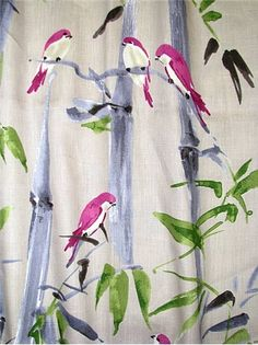"""Bamboo Path Orchid - P. Kaufmann fabric - 100% linen. Watercolor bird on bamboo print. Beautiful multi purpose home décor fabric. Repeat; V 25.25"""" x H 27"""". 54"""" wide. Unbranded soil & stain repellent finish."""