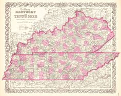 Colton's Kentucky and Tennessee. G.W. & C.B. COLTON & CO. 1864 NEW YORK.