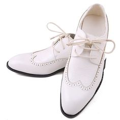 Men White Leather Lace Up Wedding Prom Dress Brogue Oxford Shoes SKU-1100231