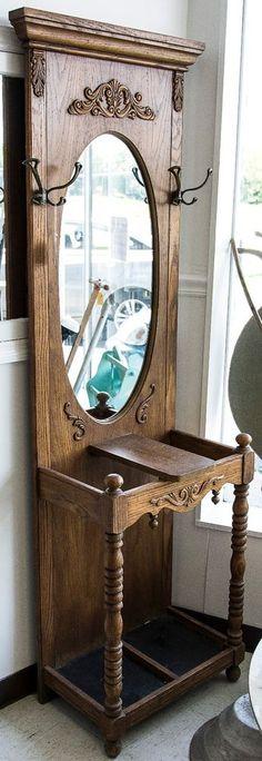 Vintage, Narrow, Buckwheat Honey, Oak, Hall Tree with Mirror Coat Hooks  #unknown