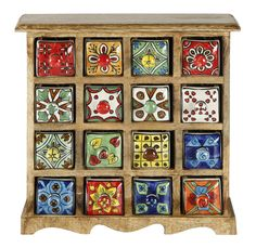 Curios 16 Drawer Wood Apothecary Chest