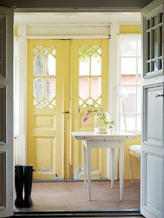 home sweet home. so shabby chic.love the yellow doors! Painted Interior Doors, Painted Doors, Interior Painting, Wood Doors, Painting Art, Reclaimed Doors, Painting Tips, Barn Doors, Home Interior