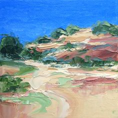 """""""Landscape Seven"""" original palette knife oil painting on a canvas panel with mini easel. Sold to an art lover."""