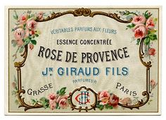 Using this on Bath and Body Works (empty) blue glass bottle. ---Vintage Clip Art - Pretty French Perfume Label - Frame - The Graphics Fairy