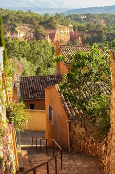 Roussillon, Provence -  A great memory. We bought paint pigments in town and had our kids do watercolors at the villa we rented for the week.  I still have the pigments, made from the different colors of clay and rock in the area.