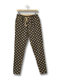 Black Polka Dot Mid Waist Cotton Blend Pants
