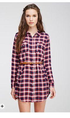 F21 belted plaid shirt dress