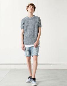 T-shirt tecidos combinados - Homem - Bershka Portugal