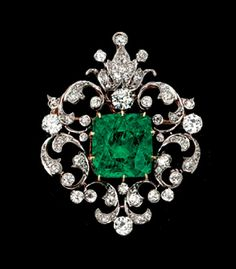 A Rare Victorian Emerald And Diamond Brooch