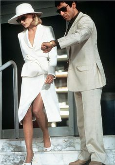 "Michelle Pfeiffer & Al Pacino in Scarface (1983). ""You wanna fuck with me? Okay. You wanna play rough? Okay. Say hello to my little friend!"""