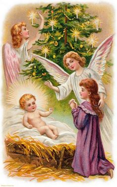 Vintage Christmas Angels - Victorian Angels - The Gallery - Image 21 Vintage Christmas Images, Victorian Christmas, Christmas Pictures, Christmas Nativity, Christmas Angels, Christmas Art, Christmas Greetings Christian, Christian Christmas, Decoupage Vintage