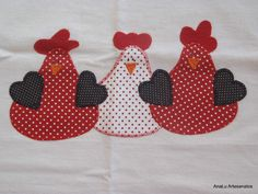 Trendy Embroidery Patterns Free Kitchen Mug Rugs 42 Ideas Embroidery Hoop Crafts, Embroidery Hearts, Embroidery Bags, Embroidery Patterns Free, Quilt Patterns Free, Hand Embroidery Designs, Applique Designs, Chicken Quilt, Chicken Crafts