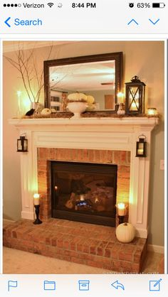 Stunning 7 Brick Fireplace Mantle Design Ideas On A Budget Brick Fireplace Makeover, Fireplace Remodel, Fireplace Ideas, Small Fireplace, Mantel Ideas, Fireplace Brick, Modern Fireplace, Mirror Over Fireplace, Country Fireplace