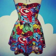 Comic book dress..... Ok.. I may not wear this.... nevermind... OF COURSE I WOULD