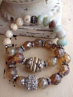 Bohemian Gemstone Glam Vintage Style Rhinestone Tibetan Naga Conch Chic Layering Stretch. Bracelet on Etsy, $48.00