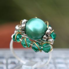 Emerald FW Pearl and Crystal Ring set in Sterling Silver Filled Wire Sizes 5 - 11.5