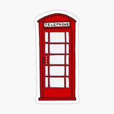 """""""Telephone Booth"""" Stickers by bryandraws Stickers Kawaii, Phone Stickers, Journal Stickers, Cool Stickers, Printable Stickers, Planner Stickers, Homemade Stickers, Telephone Booth, Red Bubble Stickers"""