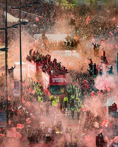 An poster sized print, approx (other products available) - Liverpool players and staff on the bus during the Champions League Winners Parade in Liverpool. - Image supplied by PA Images - poster sized print mm) made in Australia Liverpool Champions League, Liverpool Players, Liverpool Fans, Liverpool Football Club, Liverpool Tattoo, Henderson Liverpool, Anfield Liverpool, Bobby Firmino, Frames
