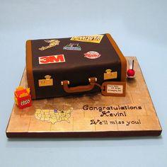 For a family moving to Minneapolis Luggage Cake, Suitcase Cake, Fondant Cakes, Cupcake Cakes, Cupcakes, Beautiful Cakes, Amazing Cakes, Bon Voyage Cake, Going Away Cakes