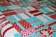 aqua and red quilt - Google Search