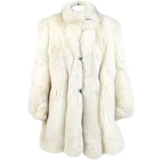 Preowned White Fox Fur Coat, 1980s ($746) ❤ liked on Polyvore featuring outerwear, coats, fur puffer coats, white, white puffy coat, fox fur collar coat, leather-sleeve coats, puffer coat and collar coat
