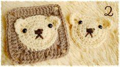かぎ編み・くまちゃんの四角いモチーフの編み方(2) diy crochet bear