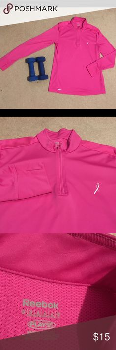 """REEBOK QUATER ZIP RUNNING TOP SIZE M Looming chill doesn't put you off your running game. You pull on our quarter zip top and hit the road in cozy comfort. 100% Polyester  Laser perforations on the back for the breathability. MEASUREMENTS:shoulders-16""""; sleeve inseam-18""""; length -25,5"""". EUC Reebok Tops"""