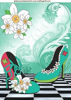 PRETTY SHOES WITH FLOWERS PEARLS WITH DAISIES on Craftsuprint - Add To Basket!