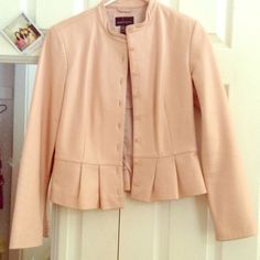 NUDE pink leather jacket REAL leather jacket! MODA international. Size SMALL. Tiny flare out at bottom of waist. Never worn MODA Jackets & Coats