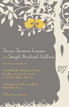 Love love love this invitaion - the colors, the font, the tree and birds! Custom Listing for JJLemmo13 by InvitingMoments on Etsy