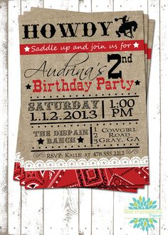 cowboy themed birthday invitation (Ann Marie this made me think of ...
