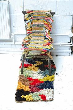handknitted chair and rug from Cabinet de Curiosités by Aude Marie via http://www.ukhandknitting.com/register_of_knitting_artists.php#Aude #art #knit