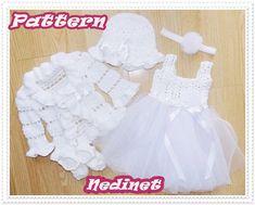White Baby Dresses, Crochet Pattern, Crochet Baby Dress Pattern, Crochet Baby Cardigan, Crochet Hat, Crochet Shoes, Baby Sweater, Headband