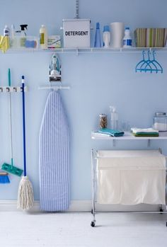 Don't fret, look up. Utilizing the entire wall for vertical storage, allows you to maximize a small laundry space. Inexpensive fixtures can be purchased at a home improvement store.