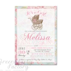 It's a Girl Baby Shower Invitation - Printable Shabby Chic Vintage Stroller Invite Floral Girl Typography - Printable No.343