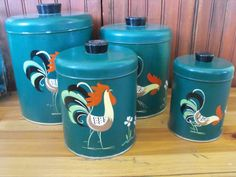 Vintage Ransburg Forest Green Hand Painted Rooster by Biggest Chicken, Vintage Canisters, Canister Sets, Roosters, Glass Dishes, Vintage Stuff, Tins, Etsy Store, Kitchen Ideas
