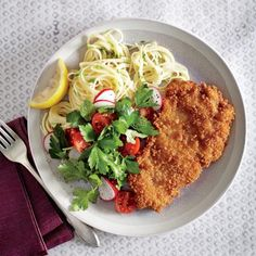 Quick and Healthy 25-Minute Dinner Recipes: Crispy Chicken Cutlets with Butter-Chive Pasta | CookingLight.com