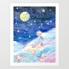 Moony Sheep Self-Launch Children's Art Print Art Wall Kids, Nursery Wall Art, Art For Kids, Sheep Nursery, Nursery Room, Nursery Decor, Wall Decor, Sheep Paintings, Sheep Art