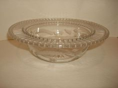 Pairpoint Glass Bowls | Pairpoint Butterflies Cut Glass Bowl w/Reticulated Flat Rim from ...