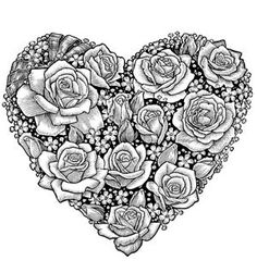@complicolor Heart of Roses Coloring Page Printable pages and Coloring books for grown-ups at: http://www.complicatedcoloring.com: