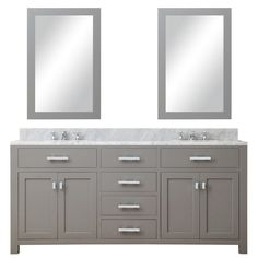 """Madison 72"""" Cashmere Grey Double Sink Bathroom Vanity With 2 Matching Framed Mirrors"""