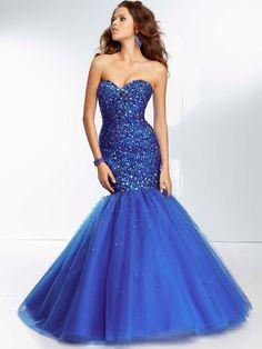Trumpet/Mermaid Sweetheart Sleeveless Tulle Prom Dresses With Beaded #FJ443