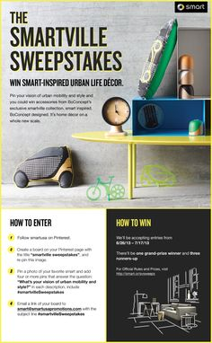 What do a furniture company and a carmaker have in common? Well, everything! As suppliers of urban life, smart and BoConcept define living big in small spaces. Both strive to provide the ultimate in utility without sacrificing on design. But what's your take on urban style and urban mobility? Pin it and you could win accessories from the smartville collection. smart inspired. BoConcept designed. It's home décor on a whole new scale. For Official Rules and Prizes, visit smart.cr/svsweeps
