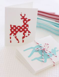 DIY Red and Aqua Reindeer Gift Cards  A Spoonful of Sugar