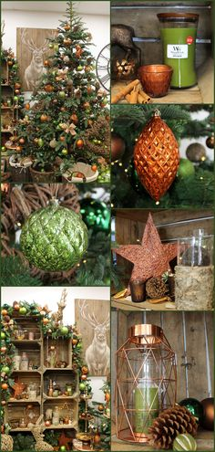 rustic christmas theme with burnt orange green and copper tones