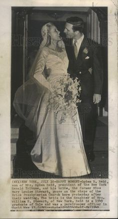 1949 Press Photo Ogden R. Reid President New York Herald Tribune Bride | Historic Images